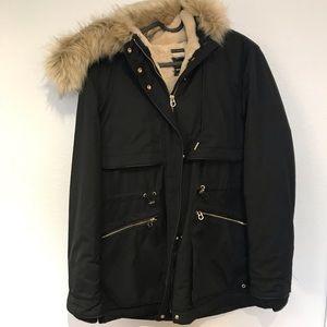 Zara parka jacket with fur lining and fur coat